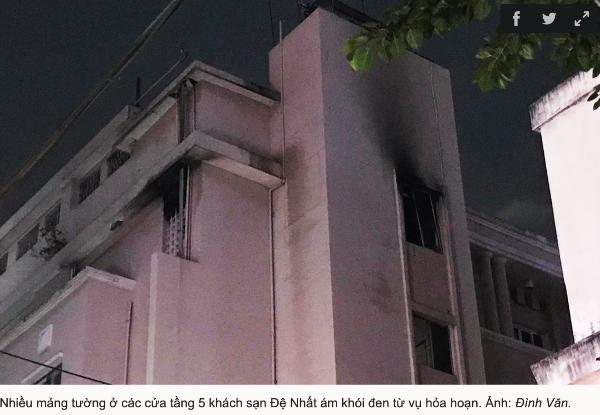 Tầng 5 khách sạn Đệ Nhất nơi xảy ra vụ cháy.